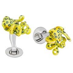 "Yellow ""Glow in the Dark"" Octopus Cufflinks in Hand-enameled Sterling Silver"