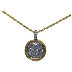 Yellow Gold 0.25 Carat Round Diamond Pendant Necklace