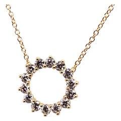Yellow Gold 0.51 Carat Natural E-F VS Round Brilliant Diamond Modern Pendant