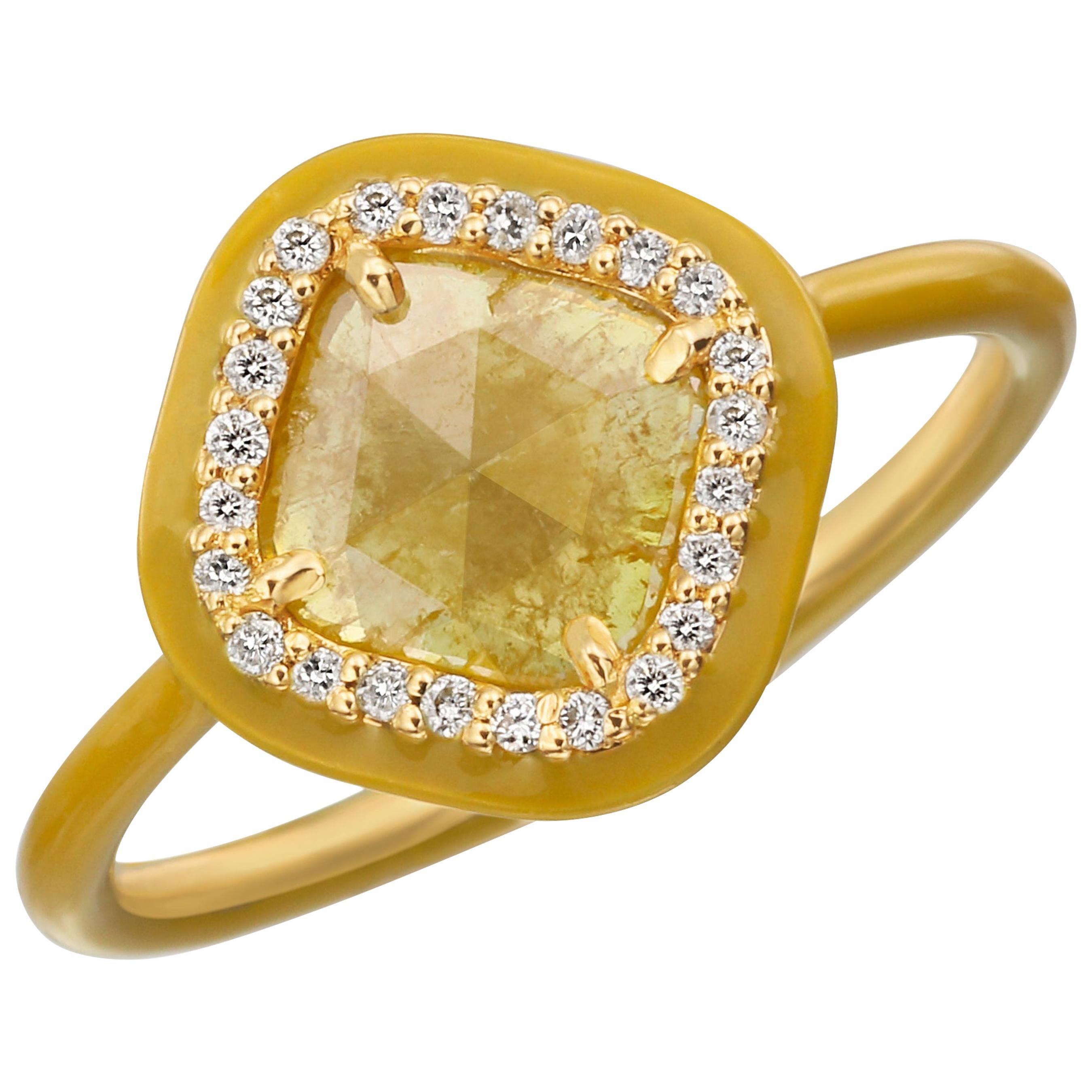 Nina Runsdorf Yellow Gold 0.54 Carat Yellow Slice Diamond Ring