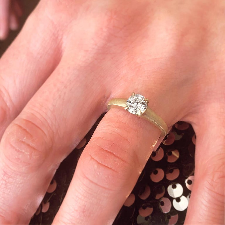 Yellow Gold GIA Certified Old European Cut Diamond Solitaire Engagement Ring For Sale 1