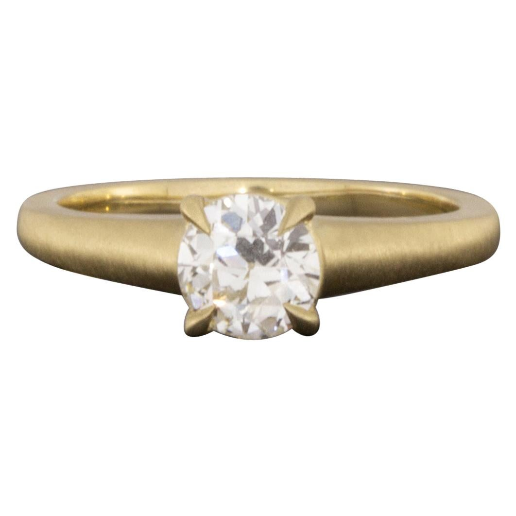 Yellow Gold GIA Certified Old European Cut Diamond Solitaire Engagement Ring