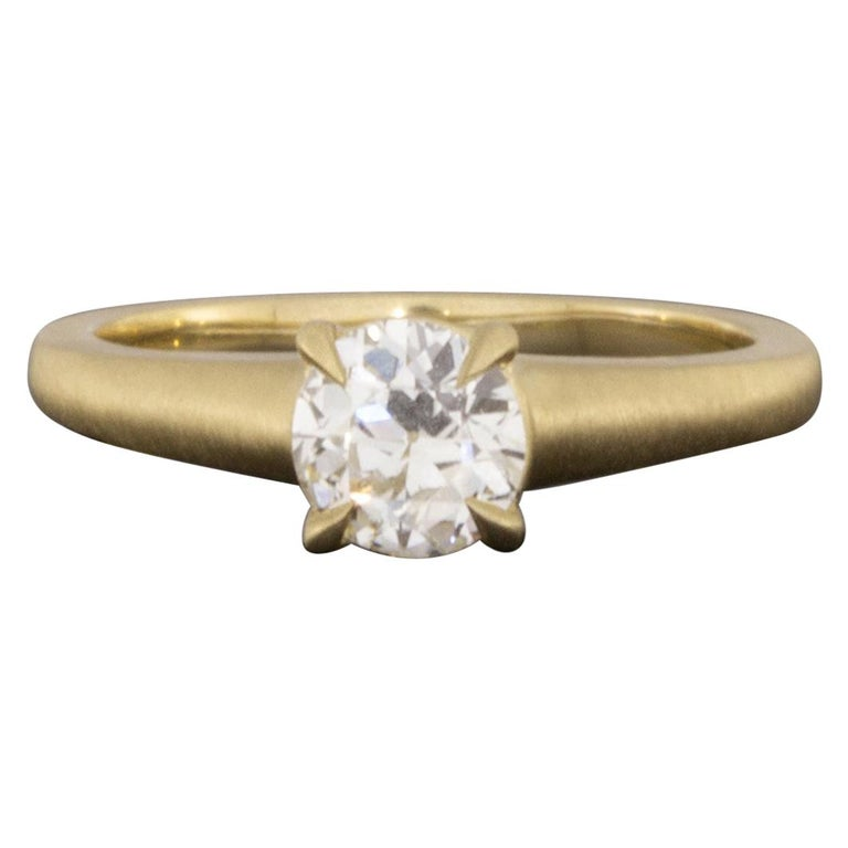 Yellow Gold GIA Certified Old European Cut Diamond Solitaire Engagement Ring For Sale
