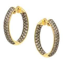 3.11 carat Champagne Diamond Medium Elegant 18 K Yellow Gold Hoop Earrings