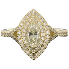 Yellow Gold 1.05 Carat Marquise Diamond Double Halo Engagement Ring