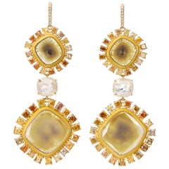 Nina Runsdorf Gold 10.77 Carat Yellow Slice Diamond and Fancy Diamond Earrings