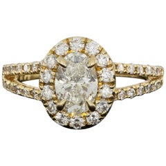 Yellow Gold 1.15 Carat Oval Diamond Halo Engagement Ring
