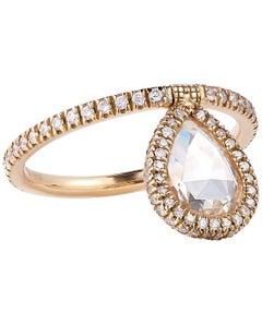 Nina Runsdorf Yellow Gold 1.26 Carat Rose Cut Diamond Flip Ring