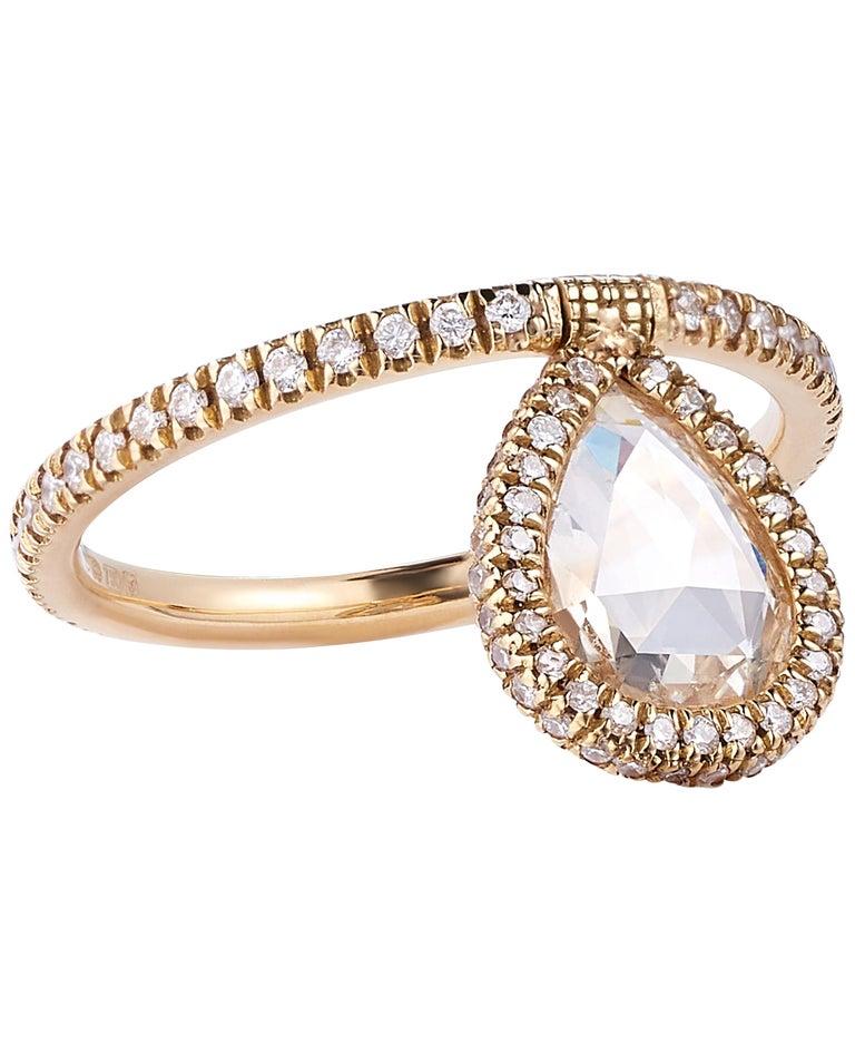 Nina Runsdorf Yellow Gold 1.26 Carat Rose Cut Diamond Flip Ring For Sale