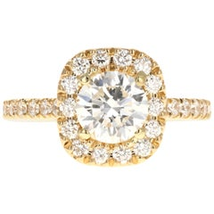 Yellow Gold 1.31 Carat Round Brilliant Cut Diamond Engagement Ring