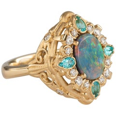 Yellow Gold 1.49ct Oval Black Opal Ring Diamond and Paraiba Tourmaline Accents