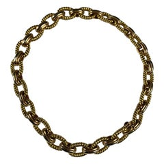 Yellow Gold 18 Carat 3 Color Curb, Rope Necklace