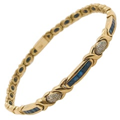 Yellow Gold 18 Carat Bracelet with Sapphires and Diamonds