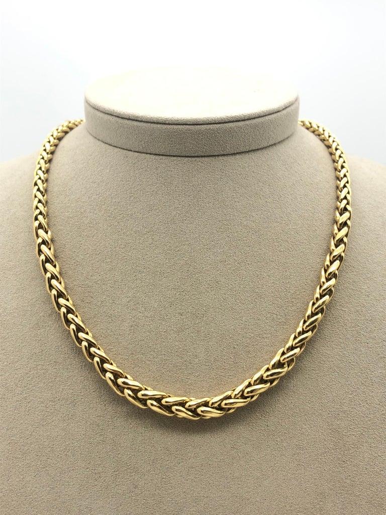Retro Yellow Gold 18 Karat Palm Mesh Necklace, circa 1980s For Sale