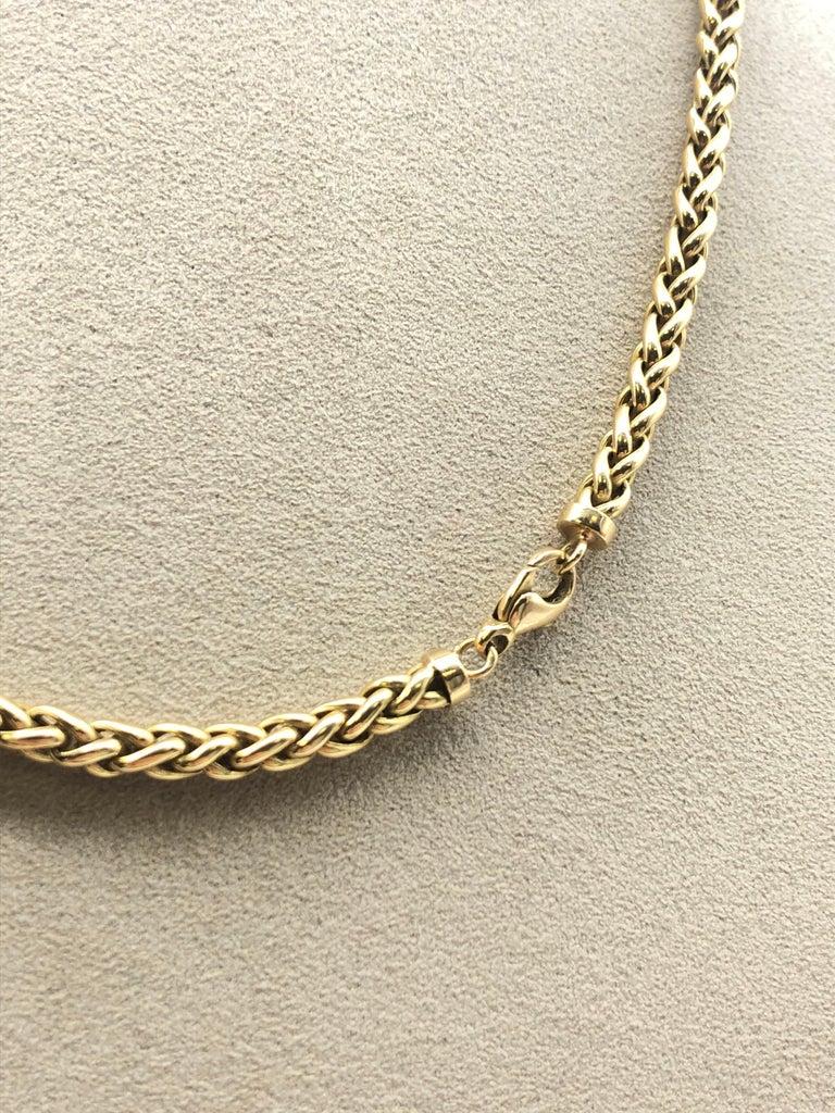 Women's or Men's Yellow Gold 18 Karat Palm Mesh Necklace, circa 1980s For Sale