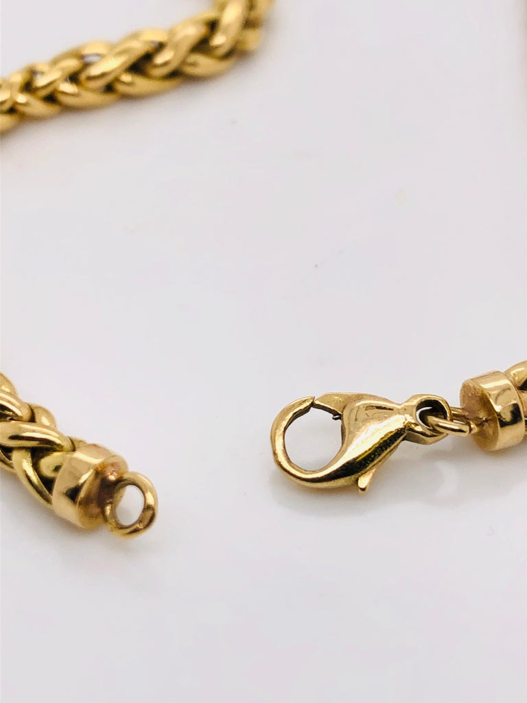 Yellow Gold 18 Karat Palm Mesh Necklace, circa 1980s For Sale 1