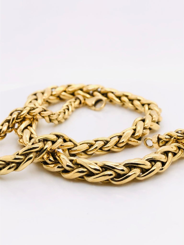 Yellow Gold 18 Karat Palm Mesh Necklace, circa 1980s For Sale 2