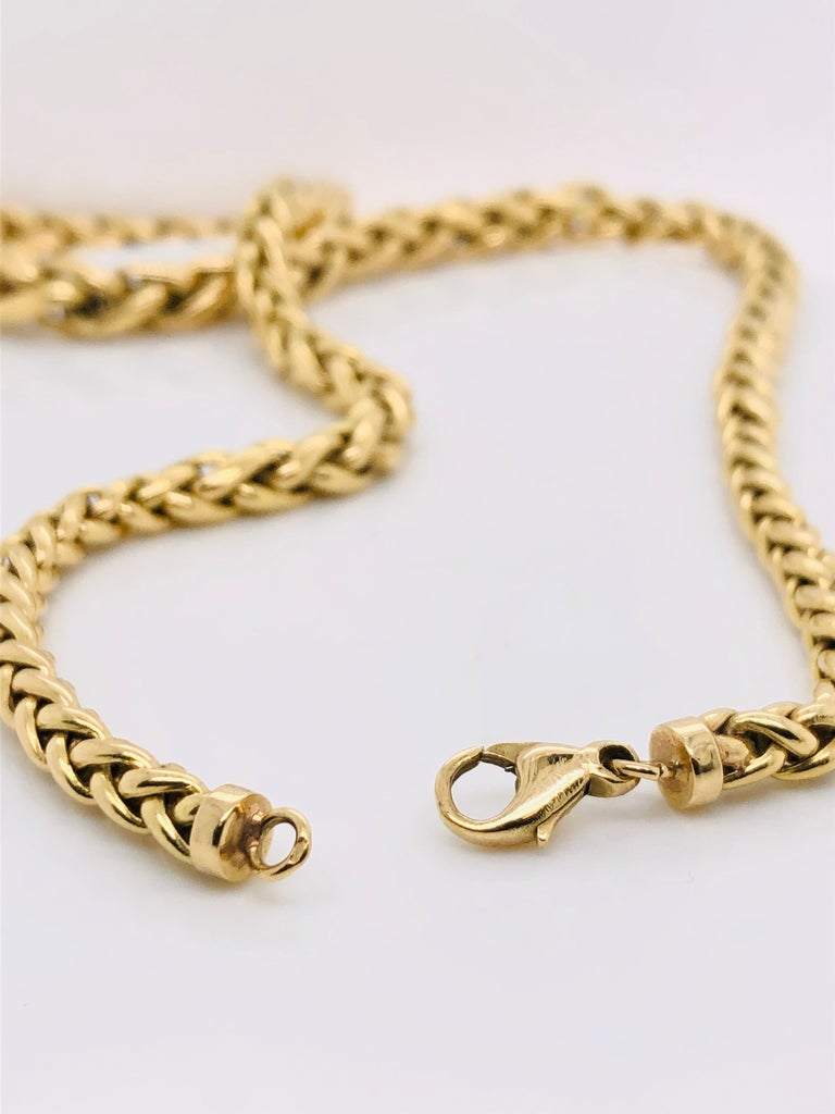 Yellow Gold 18 Karat Palm Mesh Necklace, circa 1980s For Sale 3