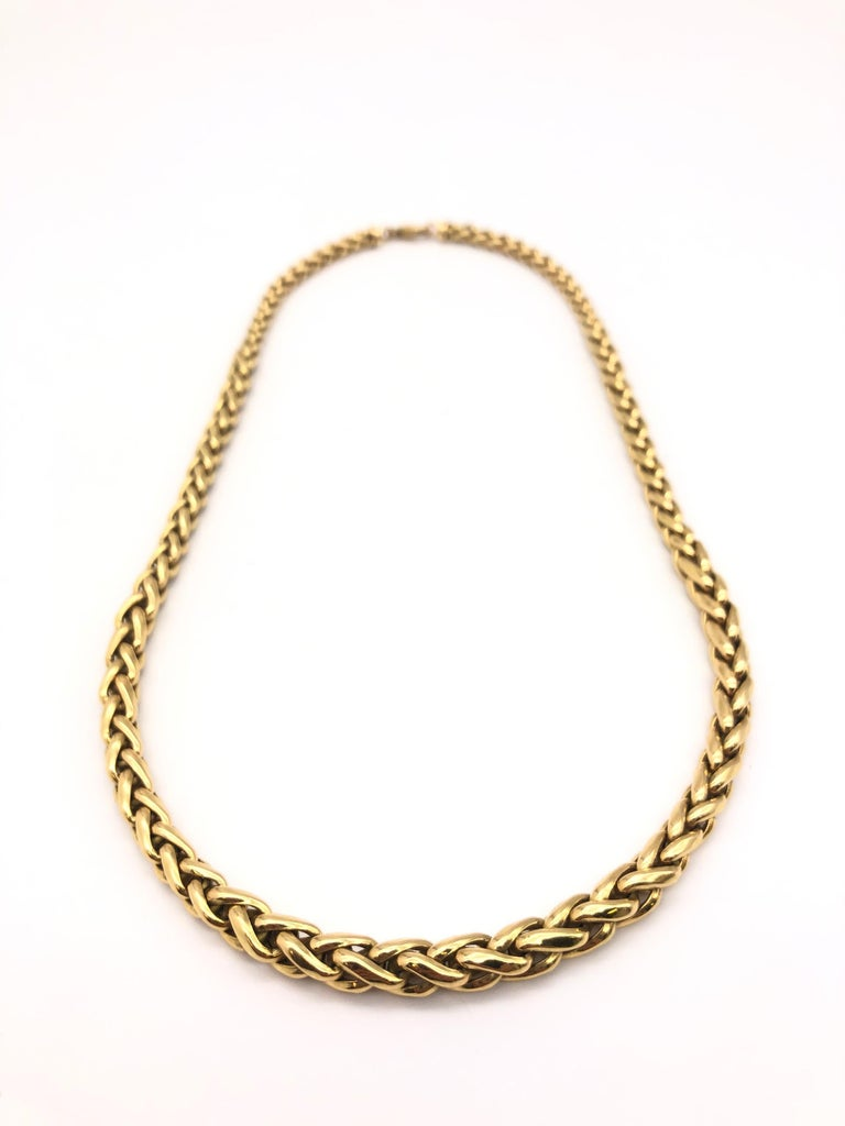 Yellow Gold 18 Karat Palm Mesh Necklace, circa 1980s For Sale 4