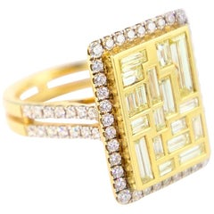 Yellow Gold 18 Karat and Diamond Baguette Cocktail Ring