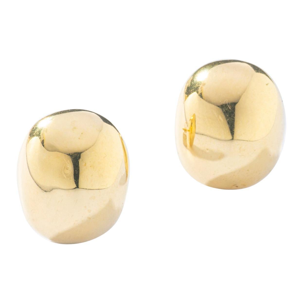 Yellow Gold 18 Karat Bean Ear Studs Earrings