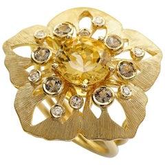 Yellow Gold 18 Karat Beryl Diamonds Sapphire Flower Botanical Cocktail Ring