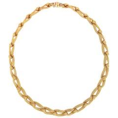 Yellow Gold 18 Karat Braid Chain Antique Plaited Neacklace