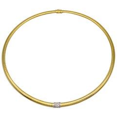 Yellow Gold 18 Karat Choker Necklace and Diamonds Brilliant Cut