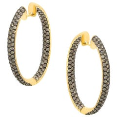 Yellow Gold 18 Karat Cognac Diamond Hoop Earrings