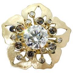 Yellow Gold 18 Karat Diamond Flower Botanical Cocktail Ring