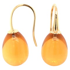 Yellow Gold 18 Karat Hydro Citrine Drop Earrings