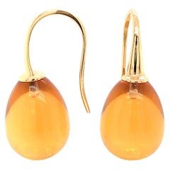 Yellow Gold 18 Karat Hydro Citrine Drop Earrings