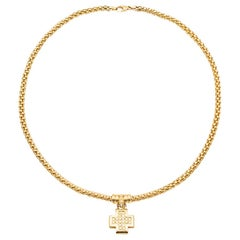 Yellow Gold 18 Karat Necklace with a Cross Pendant Articulated Diamond Paving