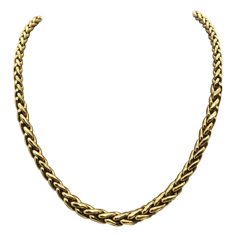 Yellow Gold 18 Karat Palm Mesh Necklace, circa 1980s For Sale