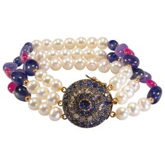 Yellow Gold 18 Karat Pearl Sapphire Ruby Diamond Bracelet