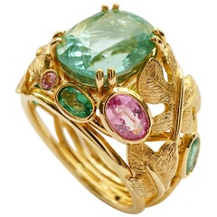 Yellow Gold 18 Karat Botanical Fig Leaves Tourmaline and Sapphires Cocktail Ring