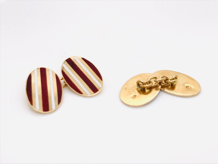Red and Gold 18 k Cufflinks Years 50  Enamel red and White Yellow Gold 18 k