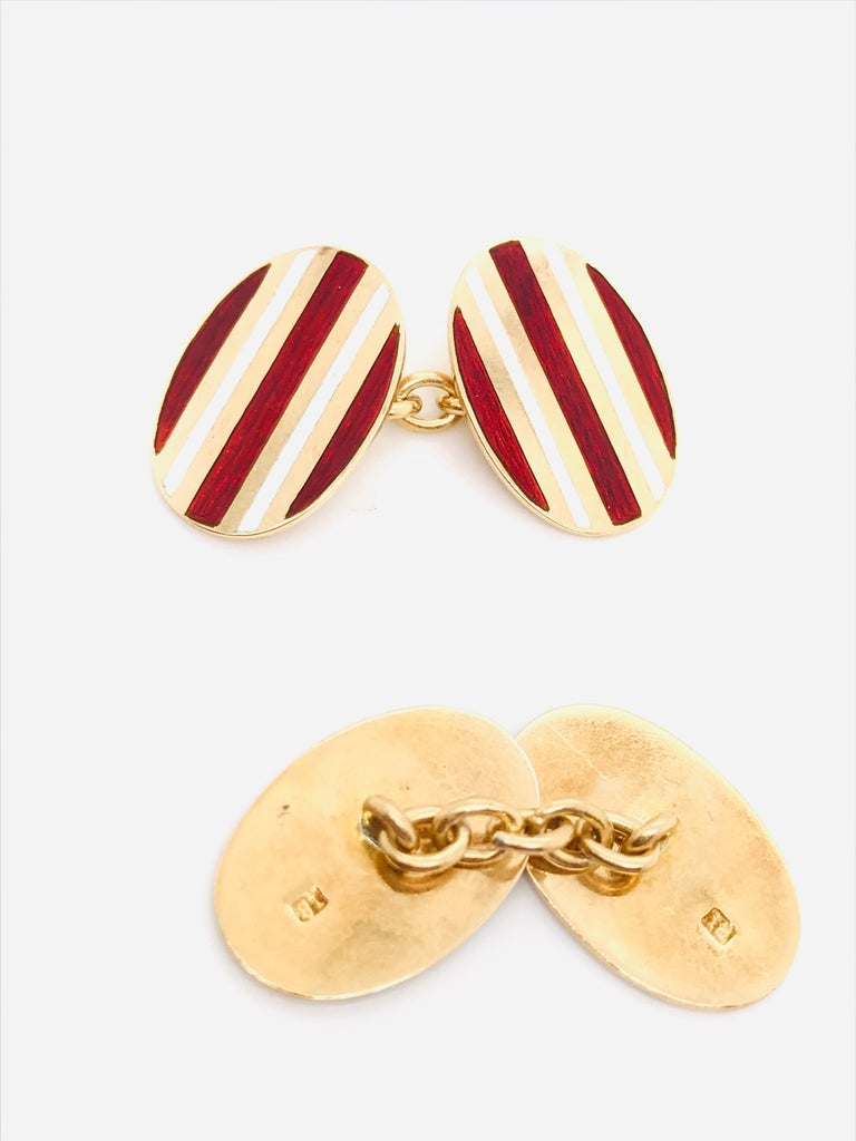 Yellow Gold 18 Karat Cufflinks, 1950s In New Condition For Sale In Vannes, FR