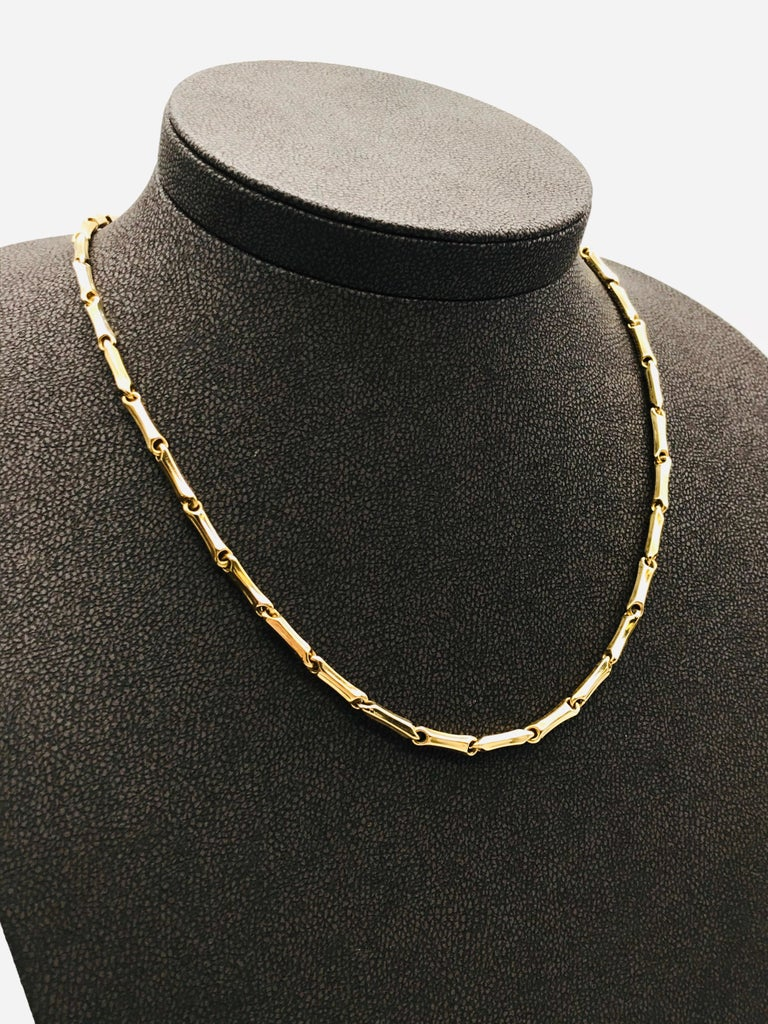 Yellow Gold 18 Karat Link Necklace In New Condition In Vannes, FR