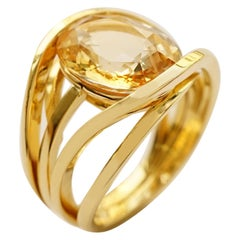 Yellow Gold 18 Karat Multi Band and Yellow Honey Colored Sapphire Band Ring
