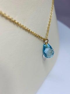 Yellow Gold 2 Carat Briolette Cut Blue Topaz Solitaire Necklace