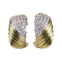 Yellow Gold 2 Carat Pavé Set Diamond Clips