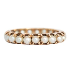Yellow Gold 2.00 Carat Total Weight Natural Seed Pearls Wedding Band