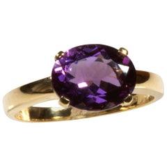 Yellow Gold 18k 2.18 Carat Oval Purple Amethyst