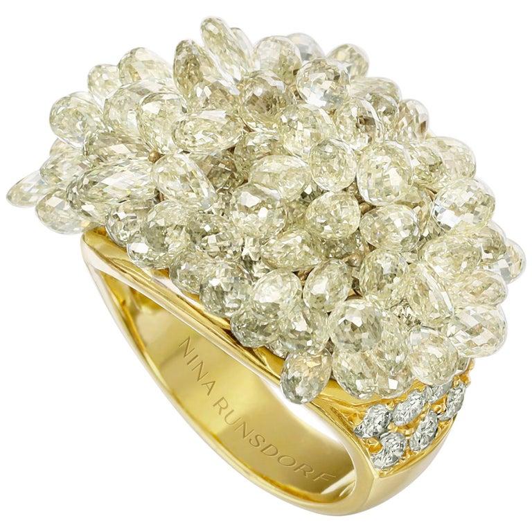 Nina Runsdorf Yellow Gold 22.40 Carat Yellow Diamond Briolette Fringe Ring For Sale