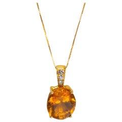 Yellow Gold 18k 3.5 Carat Citrine Quartz and Diamond Necklace
