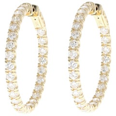 Yellow Gold 4.32 Carat Total Weight Diamond Inside-Out Hoop Earrings