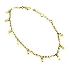 Yellow Gold 5 Baguette Diamond Dangle Falling Bracelet