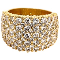 Yellow Gold 5 Carat APX Natural Colorless Round Brilliant Cocktail Diamond Band