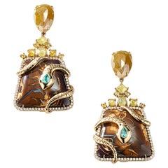 Nina Runsdorf Yellow Gold 61.01 Carat Opal Snake Drop Earrings